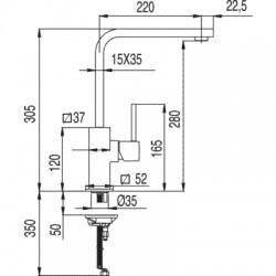 Monomando fregadero vertical CUADRO