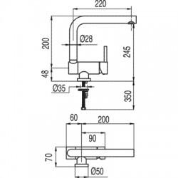 Monomando fregadero vertical ABATIBLE