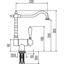 Monomando fregadero vertical ABATIBLE RETRO-TRES