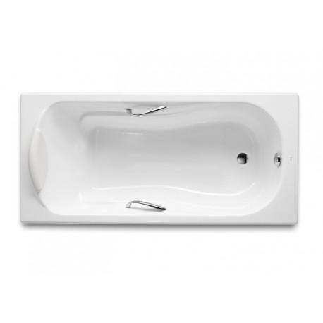 Bañera de fundición rectangular con fondo antideslizante y asas